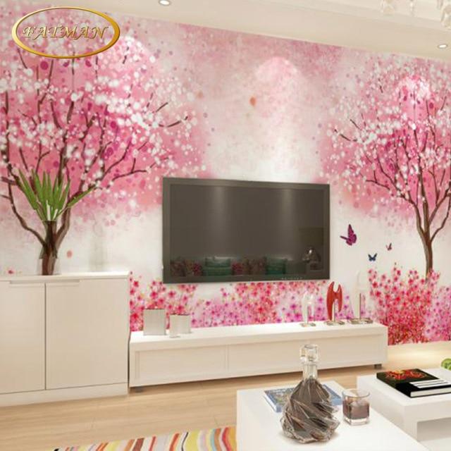 Custom 3d photo wallpaper hand painted cherry blossom mural wallpaper bedroom restaurant living room sofa