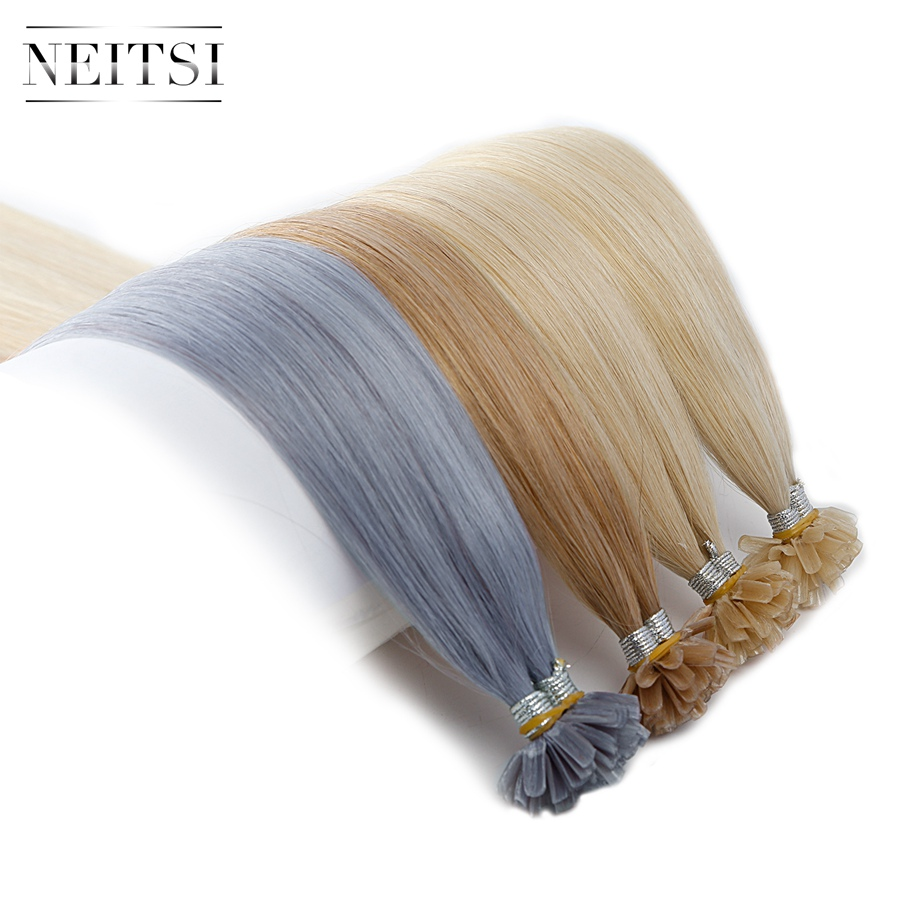 Neitsi Straight Braziliaanse Human Fusion Keratine Haarspijker U Tip - Mensenhaar (voor wit) - Foto 4