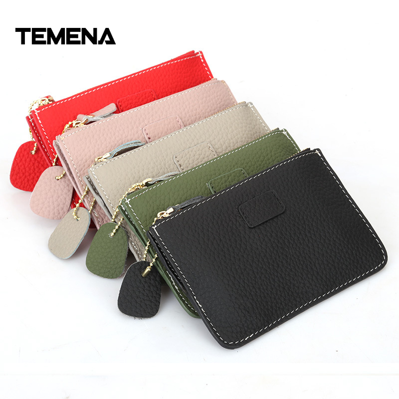 Temena 2017 Hot Fashion Genuine Leather Women Lady Wallet Clutch Short Small Coin Purse Brand New Soft Solid Zip SquareBagACP312