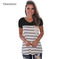 YIRANSHINI 2018 Summer Womens Black Striped T shirts Casual Lady O Neck Shorts Sleeve Tops Fashion Womens Tee LC250067