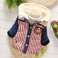 Autumn Winter fashion Baby pocket Striped  Warm Coat Outerwear Parkas Snow Wear baby boy Clothing