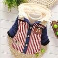 Outono Inverno moda Bebê Listrado bolso do Casaco Quente Parkas Outerwear Neve Desgaste do bebê Roupas menino