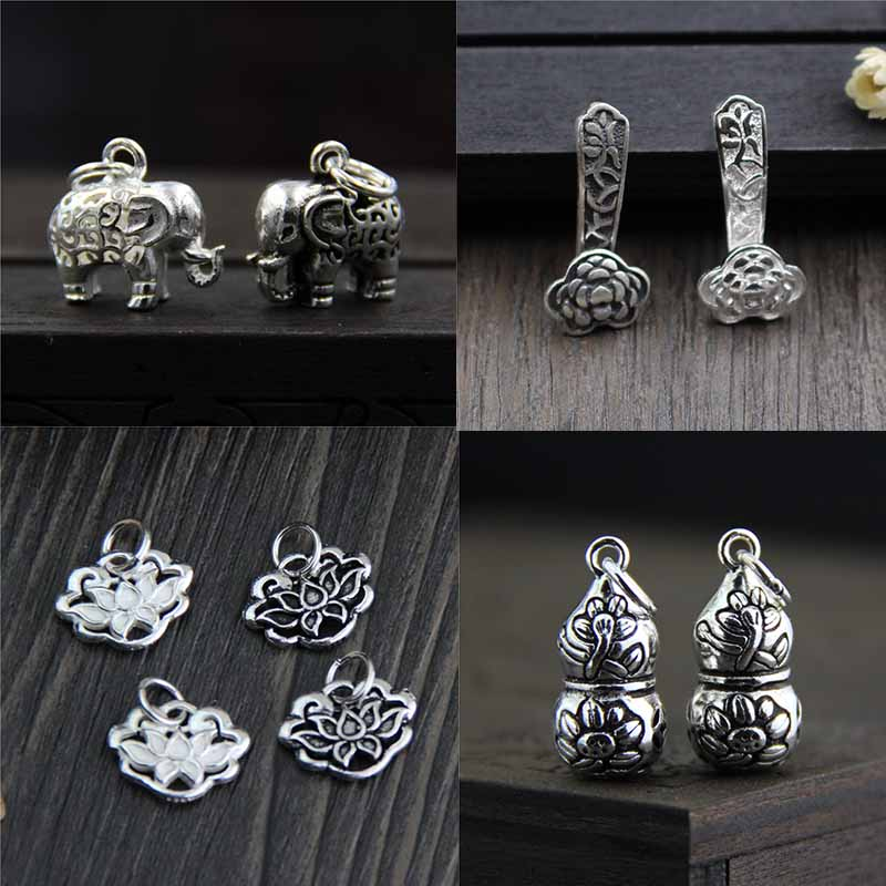 925 Sterling Silver Craft Necklace Pendant Elephant/Lotus/RUYI/Calabash Fine Lucky Silver Charms For Earrings DIY Jewelry Making