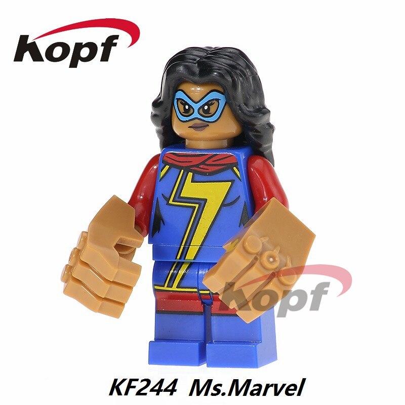 Single Sale Ms. Marvel Vacation Batman Nightmare Indiana Jones Super Heroes Building Blocks  Collection Toys for children KF244