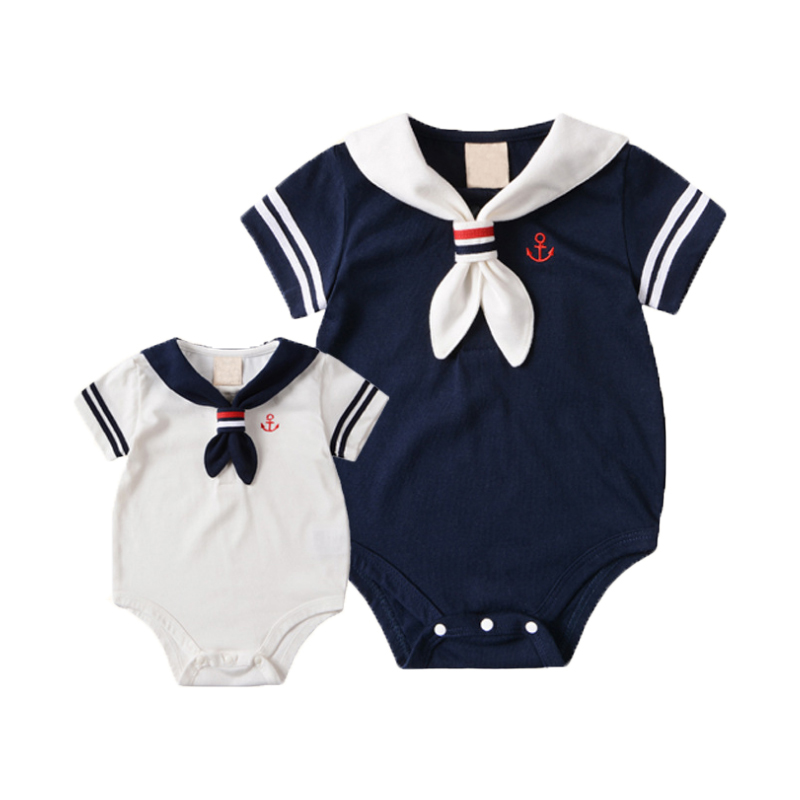Summer Baby Rompers Cotton Baby Girl Clothes White Navy Style with Tie Baby Boy Clothes Newborn kids Clothing Infant Jumpsuits