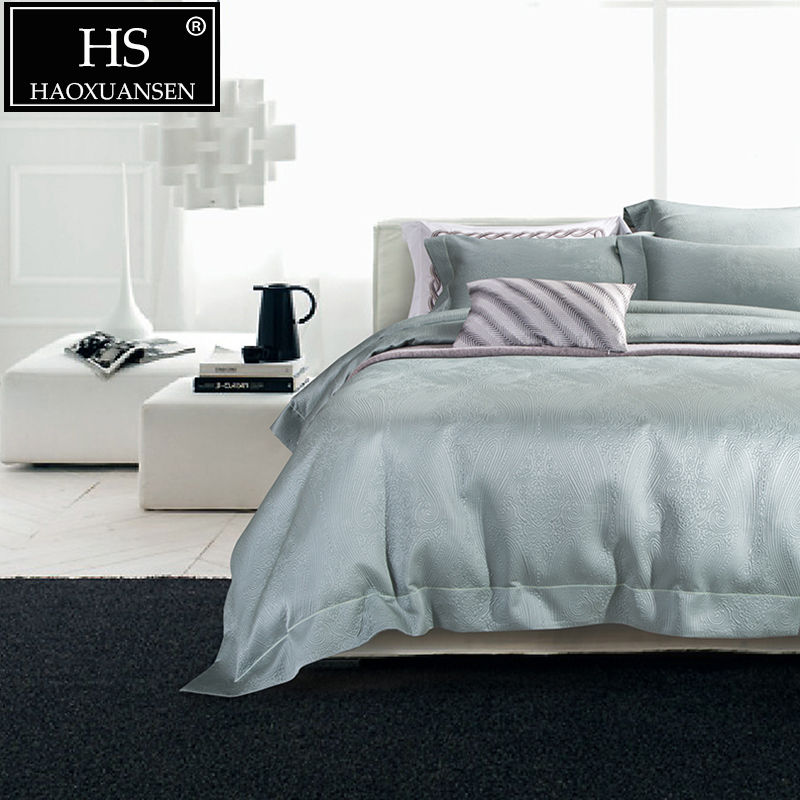 HS 120S Luxury Gray Jacquard 4pcs Bedding Sets Wedding Pure Color Bed Linens Thickened King Size Duvet Cover Bed Sheet Set