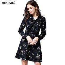 MUSENDA Plus Size Women Black Chiffon Print Bow Tunic Short Dress 2017 Autumn Female Sweet Big Dresses Vestido Clothing Robe