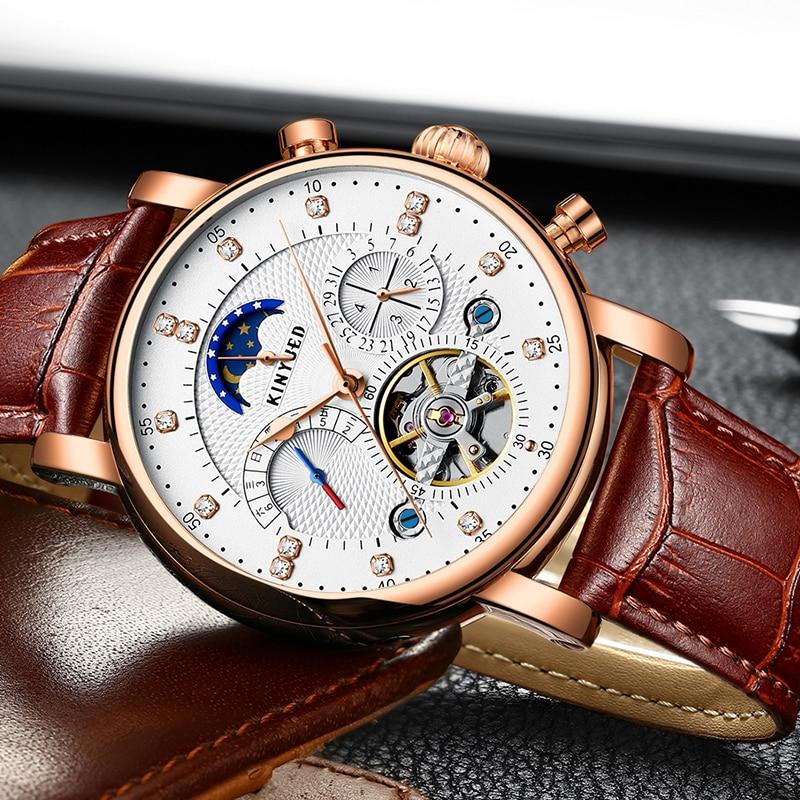 KINYUED Perpetual Calendar Watch Men Luxury Fashion Tourbillon Mens Mechanical Watches Automatic Top Brand Man Wristwatches