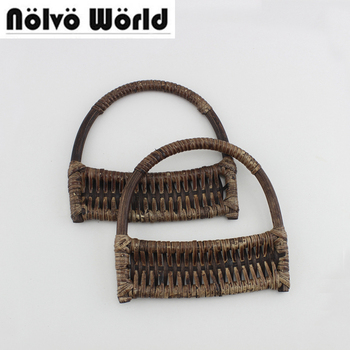 15 pairs=30 pieces,16X15.5cm Beautiful Weaved Rattan Handles,Retro Rattan handmade handles for bags purse sewing