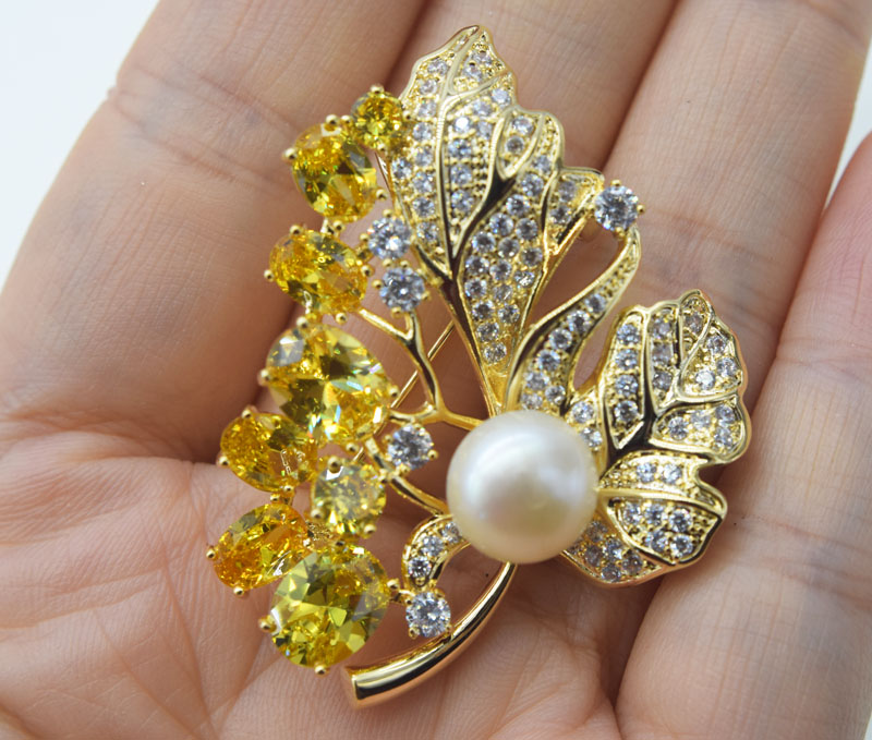 freshwater pearl white and yellow  flower  brooch FPPJ wholesale beads nature
