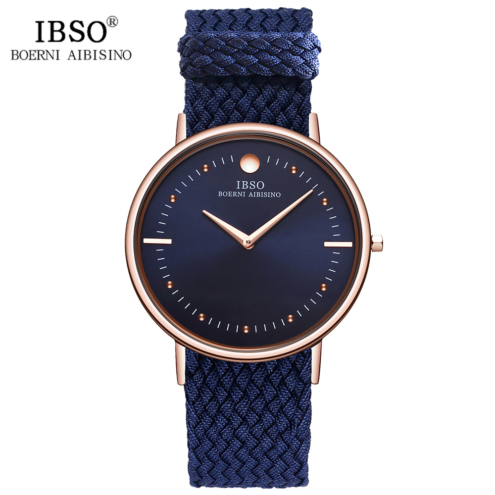 IBSO Blue Nylon Strap Mens Watches 2017 Fashion 7.5MM Ultra-thin Dial Casual Quartz Watch Men Clock Relogio Masculino np shock resistant waterproof watch men 2016 new nylon sport watches ultra slim watchcase men s fashion clock large white dial