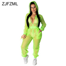 Plus Size Summer Rompers Womens Jumpsuit Neon Green Full Sleeve Hooded Long Overalls Streetwear Mesh Perspective Beach Bodysuit