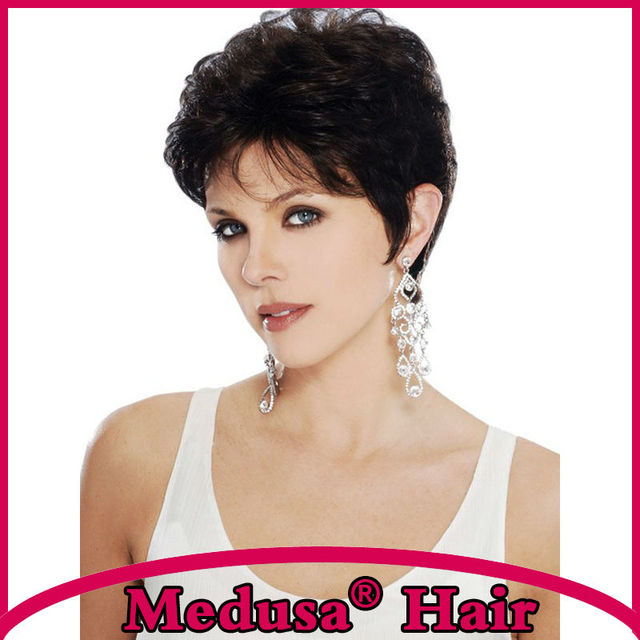 Medusa hair products: Heat resistant Synthetic pastel wigs for women Modern Short pixie cut styles black wig with bangs SW0394B