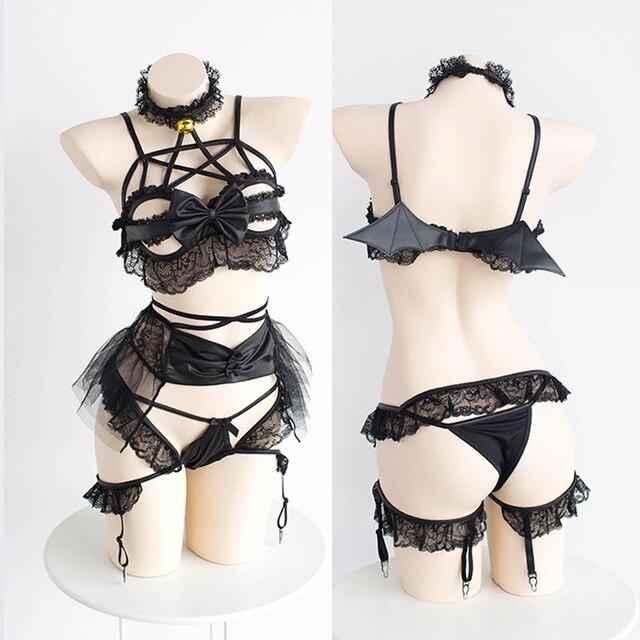 Sexy Temptation Little Devil Underwear Women Collar Bra Panty Garter Set Hollow out Wireless Bow Intimates Lingerie Sujetador