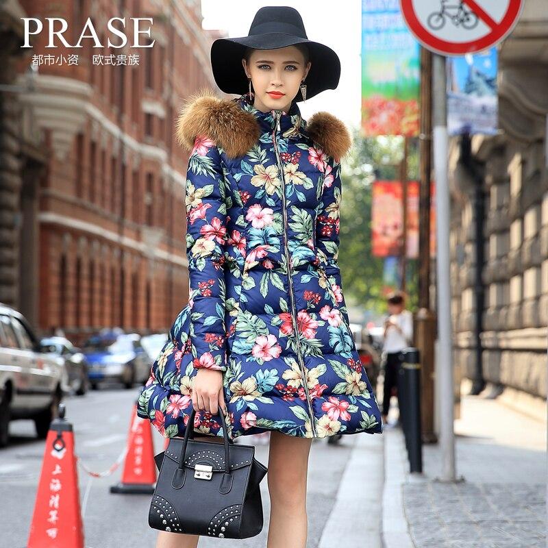 Offre spéciale vêtements femme garde doudoune 2018 nouvelle mode hiver marée d'impression longue femme veste