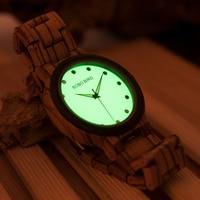 BOBO BIRD K24 Fashion Wooden Watch Green Dial Face Zebra Band Quartz Erkek Watches Natural Wood