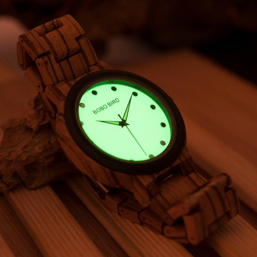 BOBO BIRD CdP04 Luminous Dial Face Men Cool Wooden Watches with Zebra Ebony Wood Strap Support Drop shipping in Gift Box bobo bird wh05 brand design classic ebony wooden mens watch full wood strap quartz watches lightweight gift for men in wood box