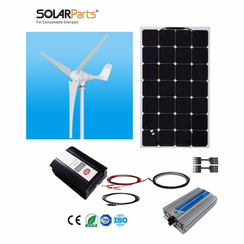 Boguang 1x 600W Wind Turbine+1X100W Solar Hybrid system DIY kit solar panel home house module mobile dc 12v/24v off grid tie
