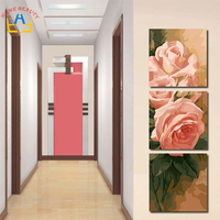 Triptych Diy Coloring Oil Painting By Numbers Flowers Wall Decorative Hand Painted Canvas Painting Acrylic Rose