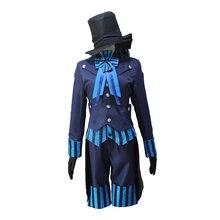 Anime negro mayordomo kuroshitsuji libro del Atlántico Ciel phantomhive  uniforme Cosplay traje conjunto completo vestido formal 78458226b483