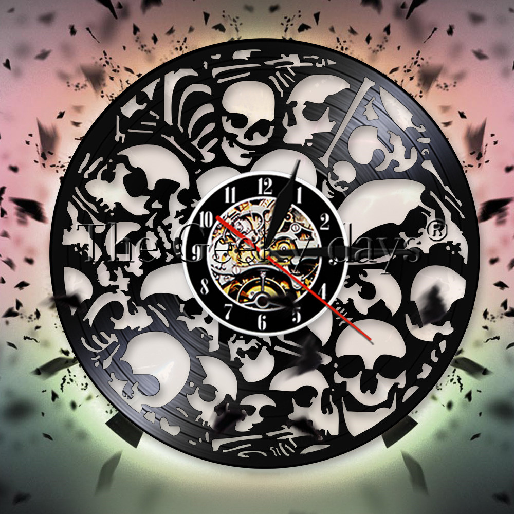 1piece Toxic Biohazard Zombie Gas Mask Skull Wall Clock Vinyl Lp Record Time Clock Led Clock Vintage Timepiece For Children Gift Home & Garden Wall Clocks