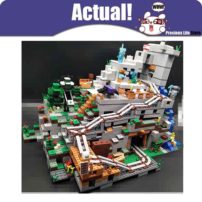 2659PCS My world Minecraft The Mountain Cave anime action figures Building Block Bricks hot Toy For Children Similar With 21137 lepin 18029 minecraft 828pcs the underwater model action anime figures my world building block bricks fun toys for children gift