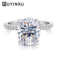 GUYINKU 14K 585 White Gold 7X9mm EF Color Oval Cut Moissanite Under Halo Engagement Ring for Women Wedding Gift