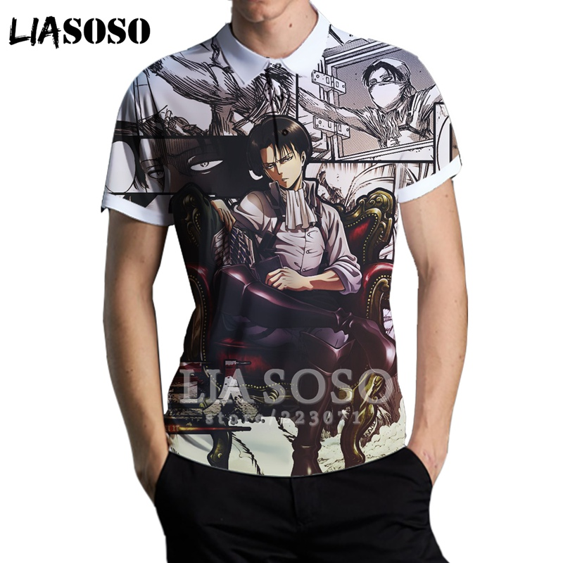 Summer New Men 3D Print Anime Attack On Titan Levi Polo Shirt Short Sleeve Top Stand Collar Golf Teens Street Pullover A272-04