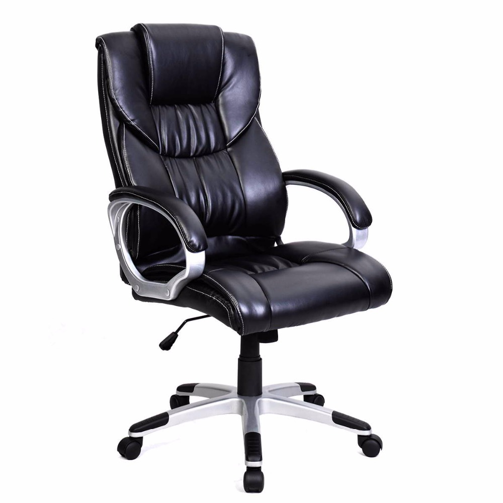 Goplus New Pu Leather High Back Office Chair Executive Task Ergonomic Computer Gaming Chairs Home Furniture Hw49383 In From