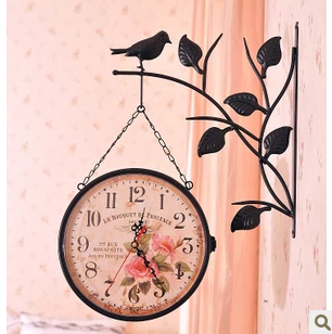 Y128 Fashion Vintage Digital Wall Clock, European Style Garden Vintage Metal Craft Dual Plates Wall Clock H-72