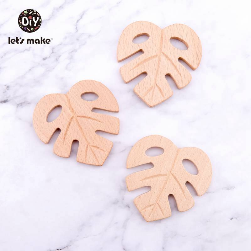 Let's Make 1pc Baby Wooden Teethers Leaves Shape Latex Free Beech Wooden Baby Teethers Toys DIY Pendant For Making Necklace