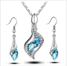 Austrya Crystal Jewelry Sets Water Drop Pendants Necklaces Dangle Earring Plated