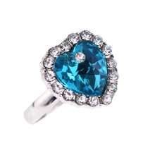 Classical Sliver Color Heart of Ocean Blue CZ Crystals Surrounded Jewelry Ring For Women Bijoux Wholesale(China)