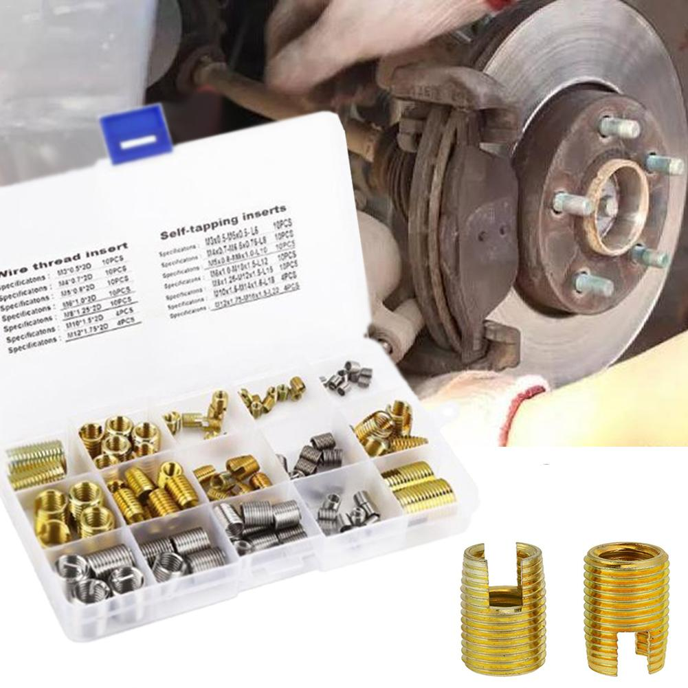 116PCS Self-tapping Thread Slotted Sheath And Wire Threaded Jacket Combination Thread Repair M3-M12 Repair Tools