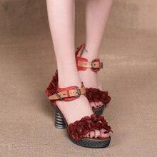 2017 Genuine Leather Women Sandals High Heels Sweet Flower Buckle Handmade Cowhide Platform Sandals