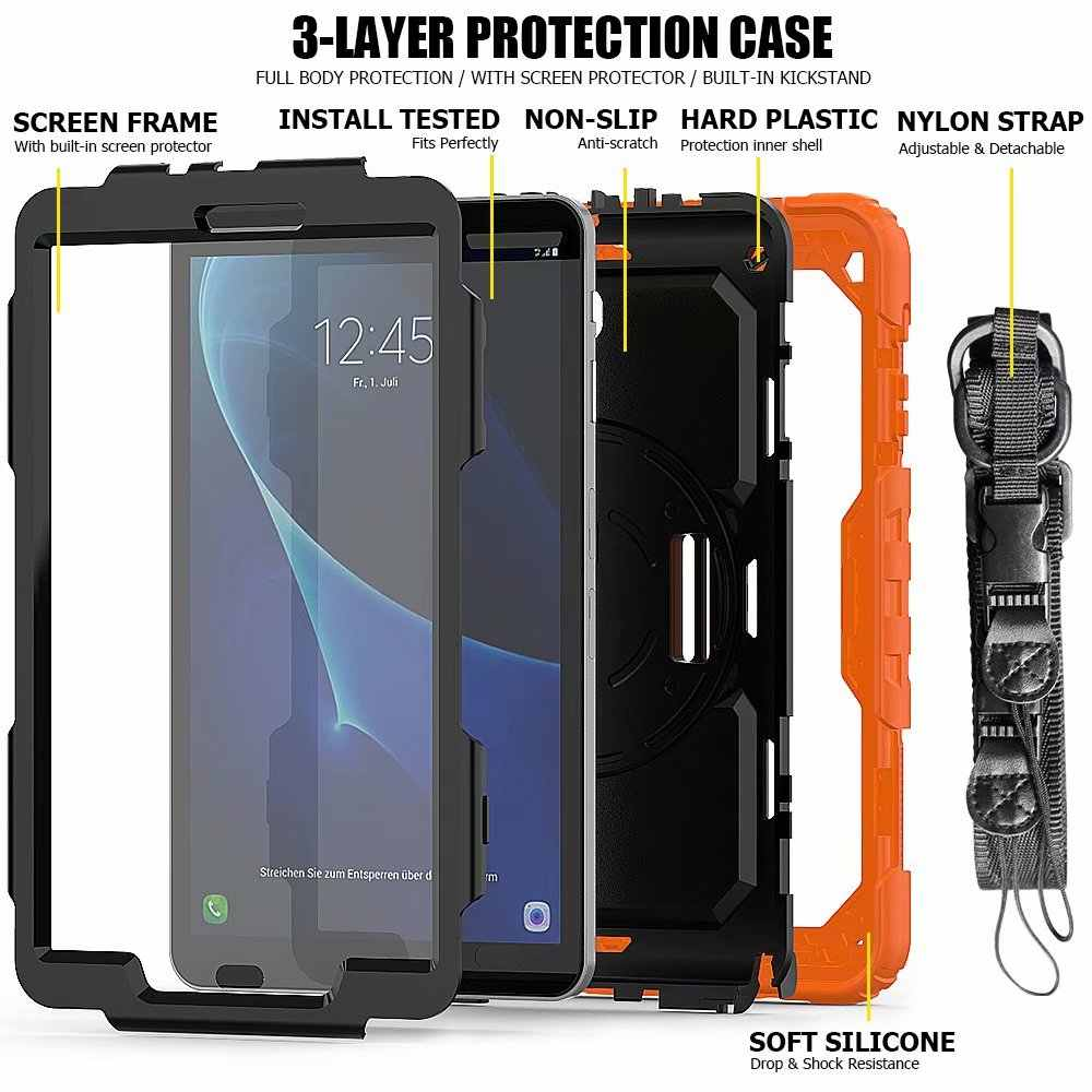 360 Degree Kids Silicone Hard Cover+Neck Strap & Hand Strap Case For Samsung Galaxy Tab A A6 10.1 2016 T580 T585 tablet +pen