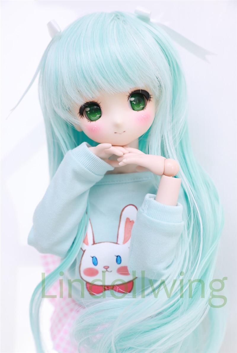 1/3 BJD Wig Pullip Dal DD SD Dollfie Doll Wig 8-9 Inch Long Wig Blue Mix White