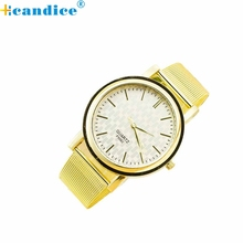 Reloj 2017 Bestselling Excessive High quality Girls Costume Quartz Watches Trend Pattern Golden Mesh Band Bracelet Watch 17mar7