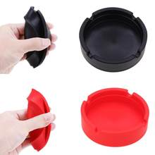 Soft Eco-Friendly Pocket Round Shatterproof Cigar Rubber Silicone Ashtray Smokeless for car(China)
