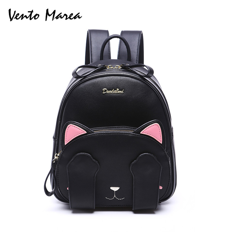 Cat Backpack Ear Cute Women Leather Backpacks Girl For Teenage Black Pu Travel Back Pack School Brand Sac A Dos Femme Promotion women backpack black red fashion style school daypacks funny quality pu leather small shoulder bag teenage girl travel back pack