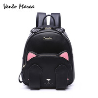 Cat Backpack Preppy Style School Backpack High Quality Pu Leather Fashion Women Shoulder Bag Travel Back