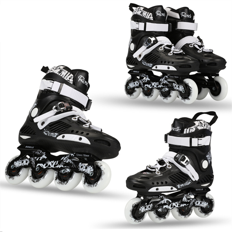 ROSELLE RS3 Advanced Inline Skates Shoes For FSK Slalom Daily Street Brush With 85A Durable Skating Wheel and Thicker Frame Base mooer baby bomb guitar effect pedal master volume provide warm true tube like 30w digital micro power amp bm30