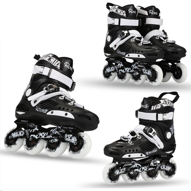 Prix pour ROSELLE RS3 Avancée Patins À Roues Alignées Chaussures Pour FSK Slalom Quotidienne rue Brosse Avec 85A Durable De Patinage Roue et Épais Cadre Base