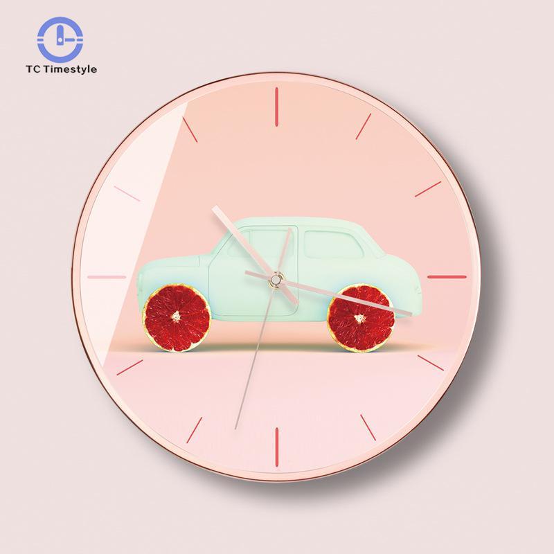 Enfants innocents accessoires de décoration de mode horloge murale moderne voiture mignon chambre d'enfants horloges murales silencieuses