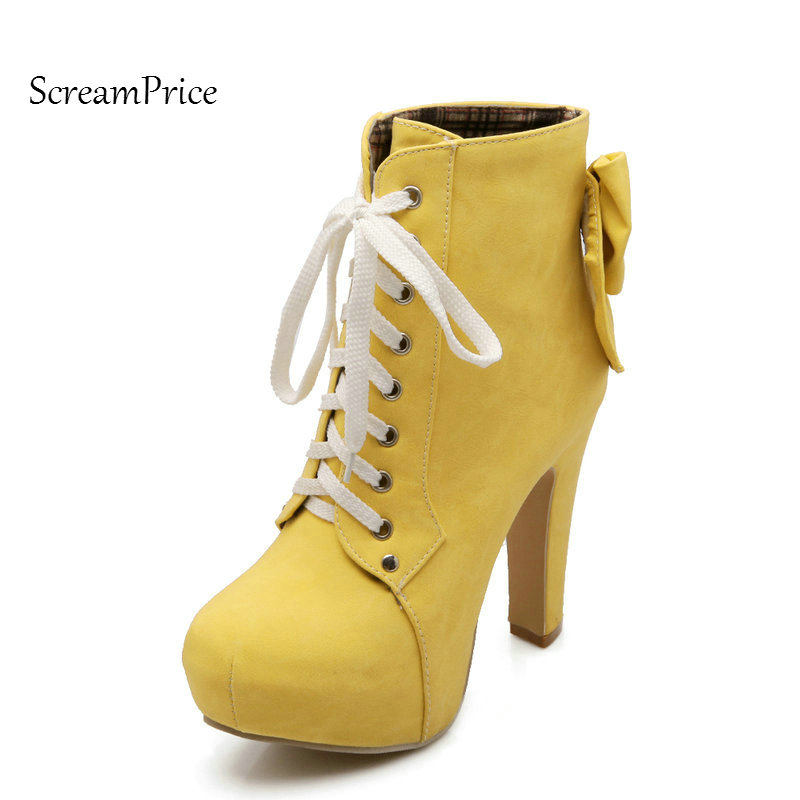 Woman Platform Sqaure High Heel Lace Up Ankle Boots Fashion Bow Knot Round Toe Dress Boots Short Plush Winter Boots Red Pink fashion bow knot side up strapless party dress deep pink size m