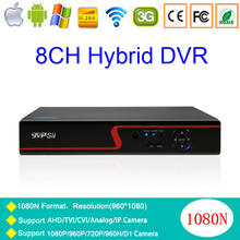 Red Panel 1080P Surveillance camera N-eye APP WIFI 8CH 5 in 1 Coaxial Hybrid NVR CVI TVI AHD DVR Free Shipping