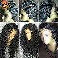 Profunda Frontal Del Cordón Llena Del Cordón Pelucas de Pelo Humano Con El Pelo Del Bebé peluca Brasileña Rizada Profunda Del Cordón Del Frente Del Pelo Humano Pelucas Para Negro mujeres