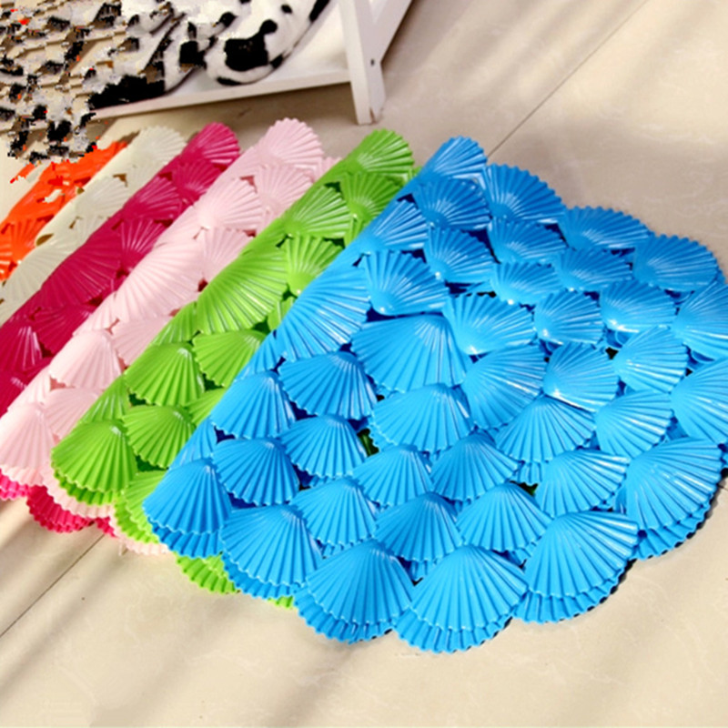 Oval Small Shell PVC Anti Water Bath Mat Bathroom Carpet Massage Non Slip Bath  Rugs