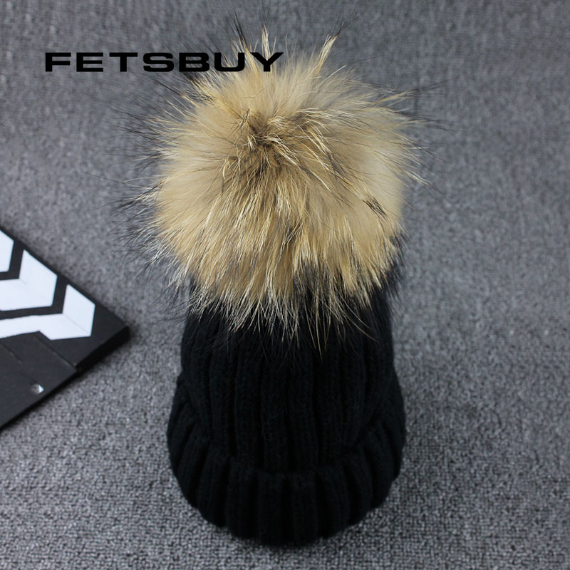 FETSBUY Real Raccoon Fur Ball Winter Hat Cap For Men Women Girl 'S Beanie Warm Pom Poms Cotton Bobble Ski Hat Thick Pompoms Hat brand new 100% cotton soft and warm winter caps for boy with detachable natural color real raccoon fur pom poms kids hat girl