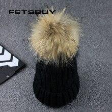 FETSBUY Real Raccoon Fur Ball Winter Hat Cap For Men Women Girl 'S Beanie Warm Pom Poms Cotton Bobble Ski Hat Thick Pompoms Hat